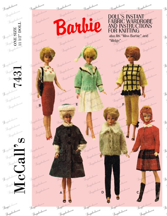 Midge and Ken Doll Clothes Sewing Patterns Reproduced McCalls 7311 Barbie