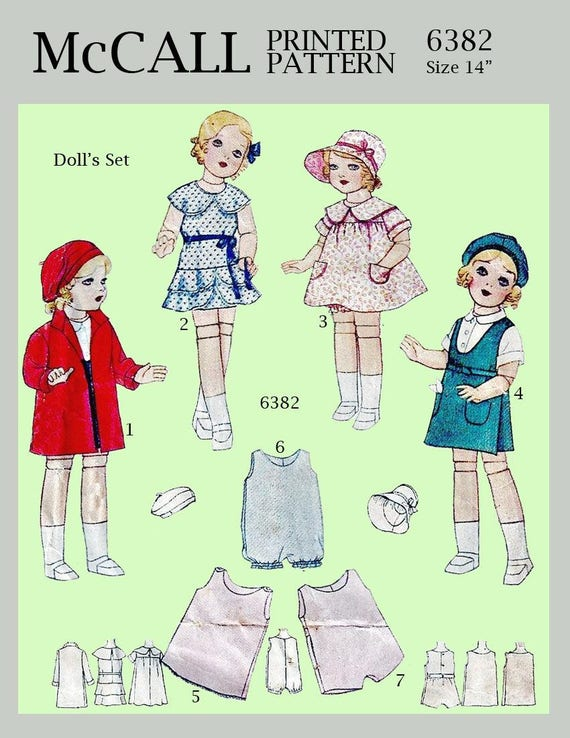 """VINTAGE PATTERN  for 14/"""" COMPOSITION  SHIRLEY DOLL"""