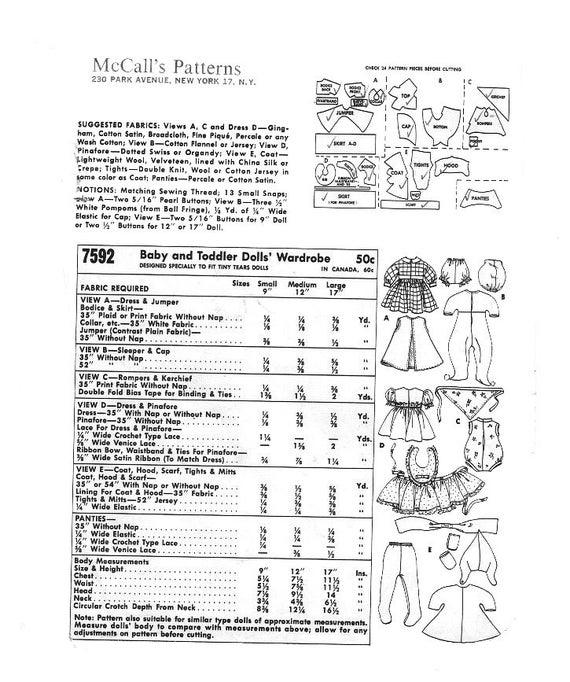 Solía 7592-12 pulgadas bebé muñeca ropa vintage costura patrón | Etsy