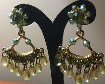 Vintage Peridot Colored Chandelier Earrings-Pierced