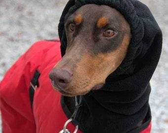 BLACK Polar Fleece Snood for Large Dog - Black Dobersnood