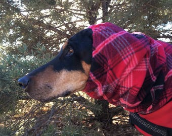 Snood for Large Dog - Red Plaid Polarfleece Snood for Dog - Snood for Doberman - Doberman Snood - Dog Snood, red plaid snood