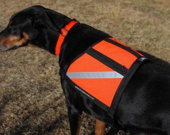 Large Dog Vest, Safety Vest, Reflective, zippered pockets, Hunter Orange, water resistant, Backpack, Service Dog Vest