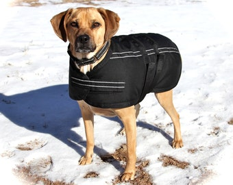 Extra Warm Winter Dog Coat size 20 - waterproof and durable - with reflective stripes - polar fleece lining
