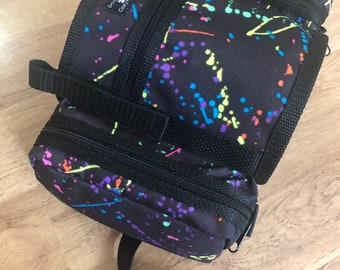 CozyHorse Service Dog Saddlebags Backpack for Harness, LIMITED EDITION neon print saddle bags for dog harness