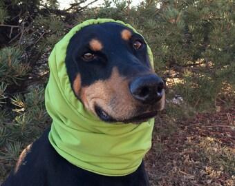 Water resistant Snood for Dog - size Large - Chartreuse - Softshell Fleece - Dobersnood - Dog Snood - Snood