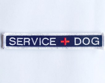 """Small Service Dog Patch - new size - .75"""" x 3.5"""" embroidered SERVICE DOG patch - Service Dog Patch with red cross"""