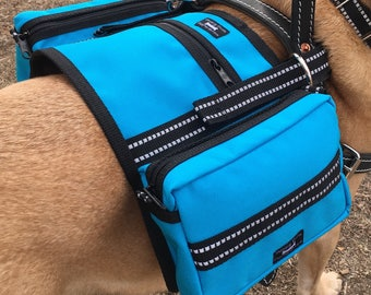 CozyHorse Service Dog Saddlebags that attach to almost any type of Harness, turquoise - limited edition color, last one