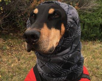Snood for Large Dog - Grey Plaid Polarfleece Snood for Dog - Snood for Doberman - Doberman Snood - Dog Snood