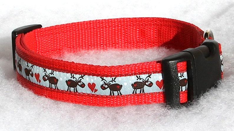 Christmas Dog Collar Santa's Reindeer Santa's little image 0