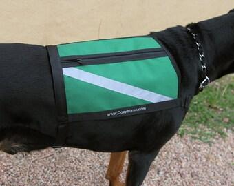 Service Dog Vest - High Visibility Dog Vest - Working Dog - Green Dog Vest - size Large - extra long