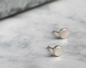 Simple Silver Studs - Handmade Recycled Jewellery | simple silver studs | circle silver studs | round silver studs | everyday studs | gift