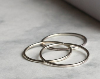 Set of Three Skinny Stacking Rings - Sterling Silver   Hammered rings   Valentine's Gift   30th birthday gift   Trio rings   mother's day