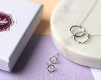 Silver Gift Set - Mini Linked Circle Necklace and Dotted Studs - Ready Made Gift | Gift for Mum | Mother's Day Gift | Valentine's Gift