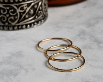 Set of Three Skinny Stacking Rings - Gold Fill | slim stacking rings | thin rings | three rings | wire ring | mother's day | midi rings