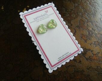 Green Opal Vintage Glass Gold Plated Stud earrings