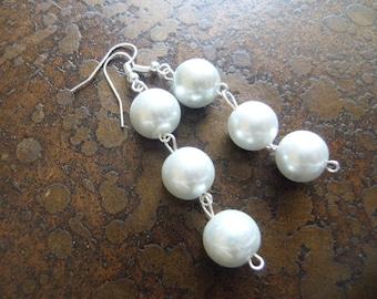 Innocence Triple Glass Pearl Beaded Dangle earrings