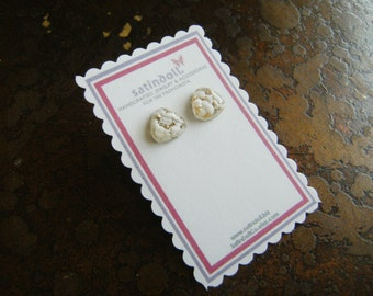 White Opal Vintage Glass Gold Plated Stud earrings