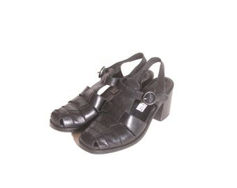 Vintage 1990s Leather Chunky Heel Black Charles David Sandals size 5 and a half