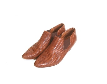 Vintage 1980s Women's Brown Woven Heeled Sesto Meucci Ankle Boots size 7 and a half