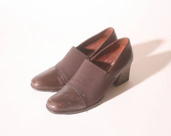 Vintage 1980s Nickels Brown Heeled Loafers size 5 and a half