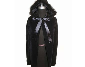 Vintage 1990s Black Velvet Boa Hooded Cape size XS