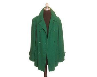 Vintage 1990s Womens Kelly Green 100 Wool Knockabout Pendleton Peacoat Jacket size XL
