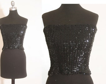 6b0eeb08ff Vintage 1980 Black Sequins Elastic Fitted Tube Top