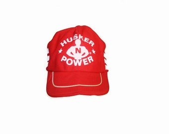 watch 382e9 8c717 Vintage 1970s Husker Power Nebraska One Size Fits All Trucker Baseball Hat