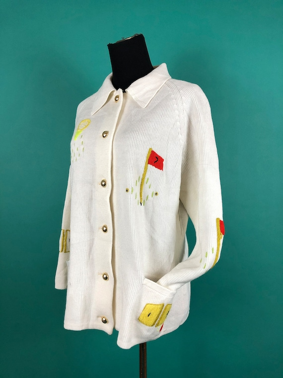 Vintage 1970s 70s Knit Golf Button Up Hole in One