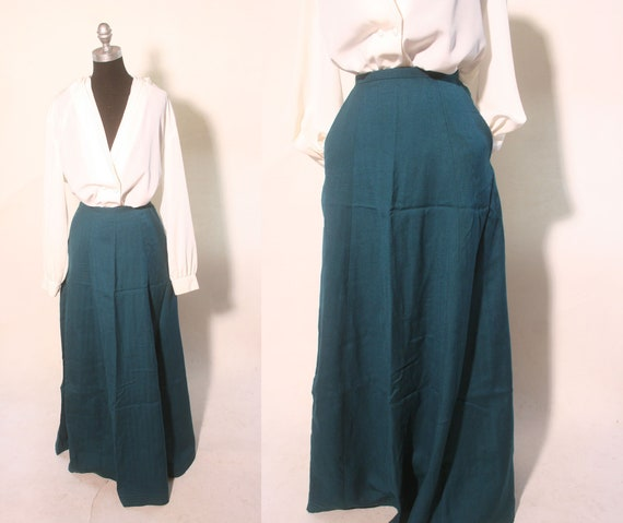 Vintage 1980s Emerald Green Floor Length Pocketed