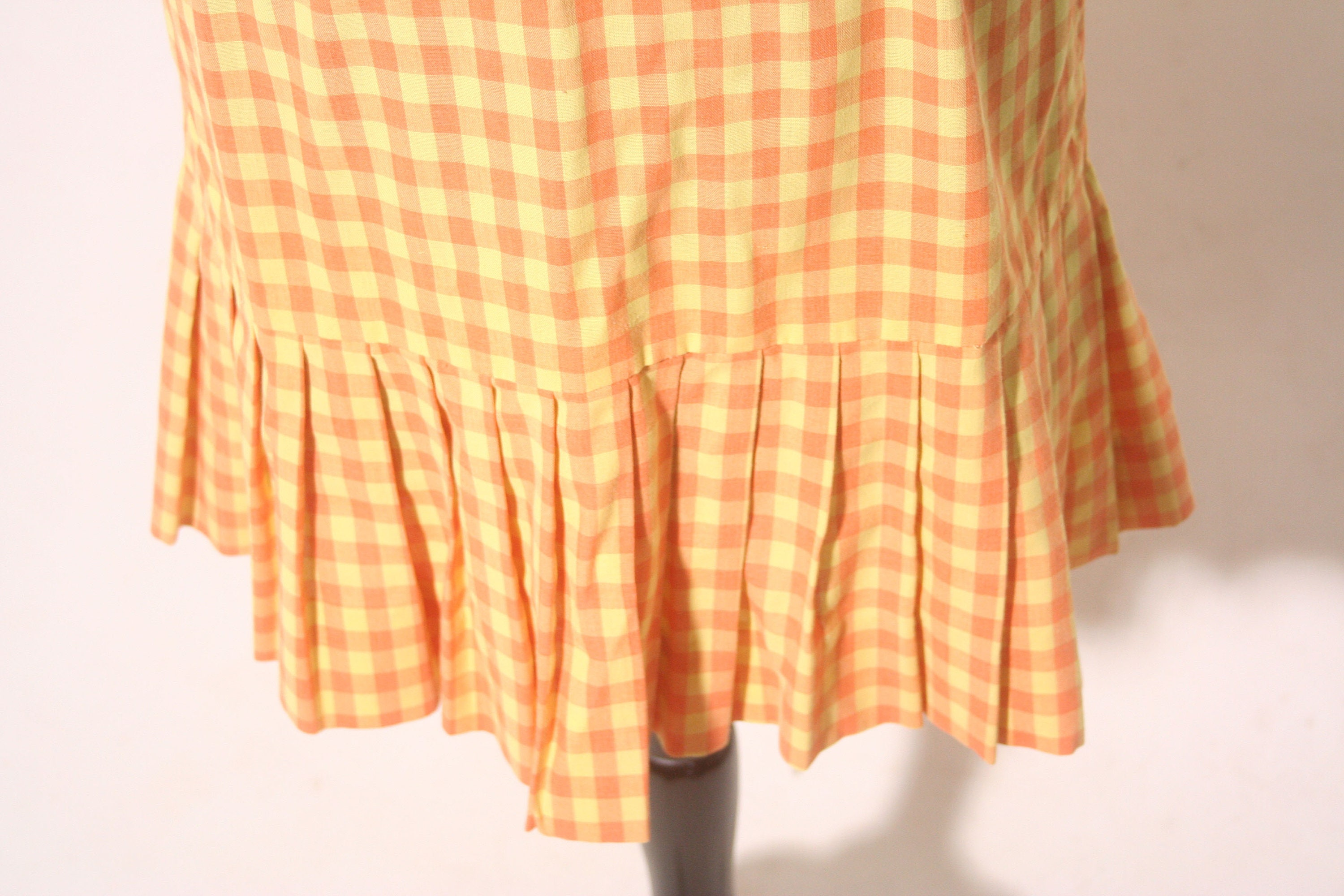 80s Dresses | Casual to Party Dresses Vintage 1980S Checkered Orange  Yellow Pleated Skirt Tennis Shift Dress Size M $24.00 AT vintagedancer.com