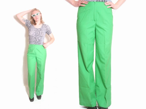 Vintage 70s Lime Green Bell Bottom Wide Leg Pleate