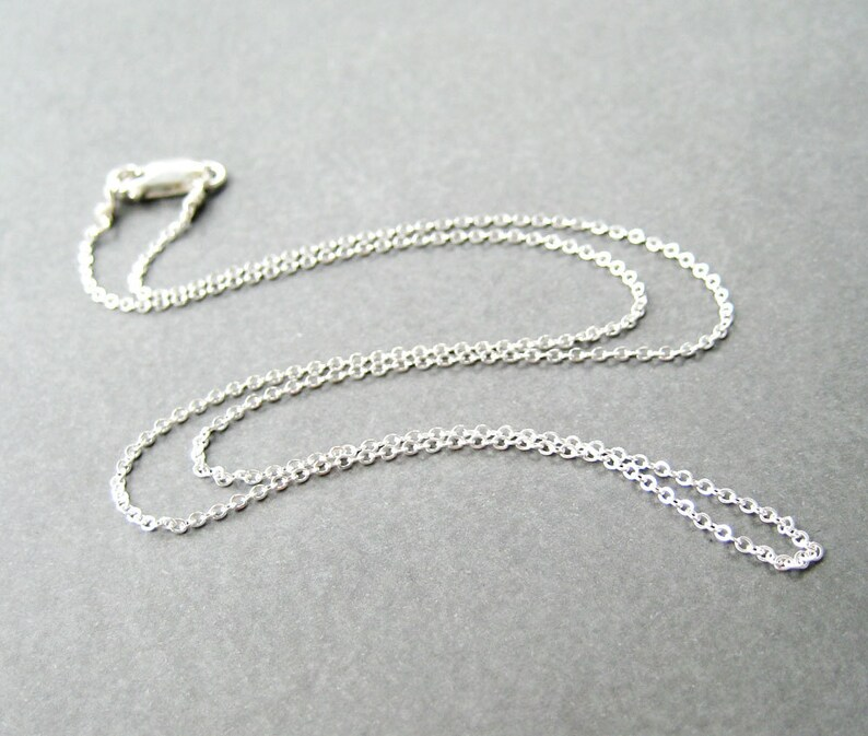 b483c47d87fdc 18 Inch Sterling Silver Chain Necklace, .925 Sterling Silver Fine Gauge  Cable Chain, Simple Necklace, Lobster Claw Clasp, Handmade
