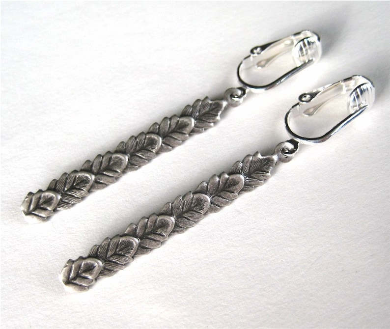 Silver Leaves Clip on Earrings Antiqued Silver Dangle image 0