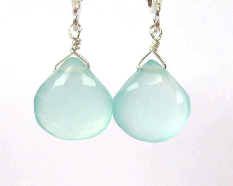 Handmade Silver Ear Clips Tranquil Faceted Aqua Teardrop Clipons Light Blue Briolettes Blue Chalcedony Clip On Earrings