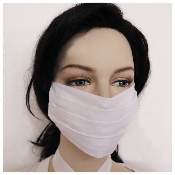 100% Cotton Face Mask White Comfortable Reversible Reusable Washable Anti Dust Handmade in USA Unisex