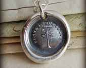 Happy in All Winds Wax Seal Necklace - Silver Antique Wax Seal Jewelry