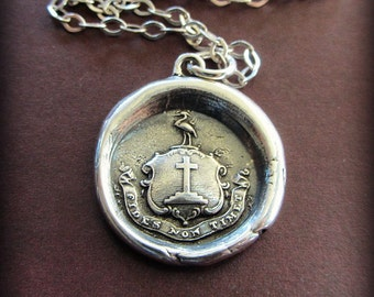 Faith Not Fear wax seal crest necklace - Let Your Faith Be Bigger Than Your Fear