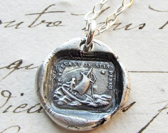 If I Lose You I am Lost - wax seal necklace - Sailboat Polar Star - Sterling Silver Wax Seal Jewelry
