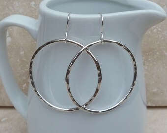 Large Sterling Silver Hammered Hoop Earrings - SILV050 - handmade, jewellery, gift, present, for her, Texture
