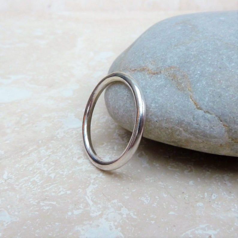 Silver Plain Ring Stacker Ring Stacking Ring Polished Silver Ring 2mm Ring Band Silver Ring Band Silver Ring Handmade Silver Ring