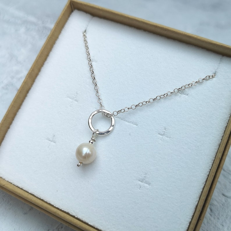 White Pearl Necklace Pearl Necklace Silver Necklace Silver Bridesmaid Necklace Pearl and Silver Necklace Silver Bridal Necklace