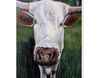 Cute White Texas Longhorn Cow Art Print from painting for Modern Farmhouse wall decor, size and mat options
