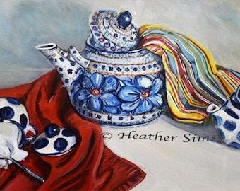 Polish Pottery kitchen wall art print. pottery teapot art print, still life painting art print, kitchen art decor, Red blue white dishes art