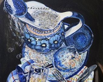 Boleslawiec Polish pottery kitchen art print poland pottery , blue and white Kitchen wall decor, kitchen art print sink still life painting