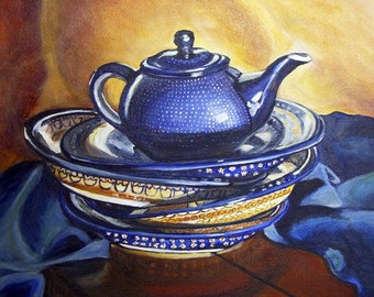 Polish Pottery teapot art print, teapot kitchen art, dining room decor, stacked dishes, Heather Sims Size and Mat OPTION
