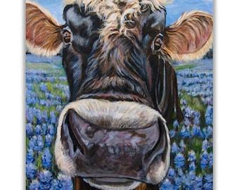 Jersey Bull, Cow Art Print Giclee  Texas Bluebonnets for Farmhouse wall decor Cow Print, Modern Farmhouse Kitchen Farm Animal Art mat option