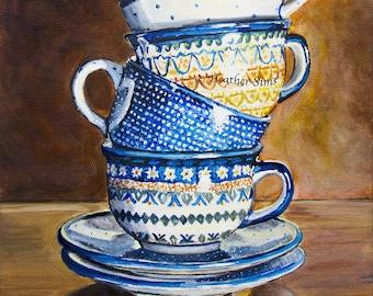 Boleslawiec Polish pottery mug, Coffee Kitchen decor, Rustic Kitchen Art Print, Stacked Teacups,  blue kitchen wall decor, size mat option