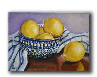 Boleslawiec pottery ,Still Life painting giclee, lemon print, blue and yellow,  Fine art print, SIMS,Size Mat option